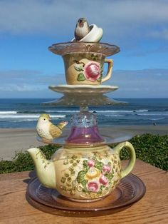 Tea for Two! or 2 Birds in the Teapot!! I was working on this and my older sis fell in love with it...so we completed it while at the Oregon Coast and I let her have it for her 70th Birthday this month. (July 2013)