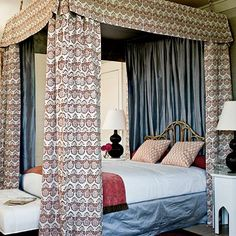 25 Romantic Rooms: This hand-blocked printed linen is lined with a high-sheen shimmery silk to create an exotic, luxurious feel. | Coastalliving.com
