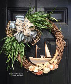 Nautical wreath, sail boat wreath, sea shell wreath, for the front door, nautical decor, sail boat decor, Nautical