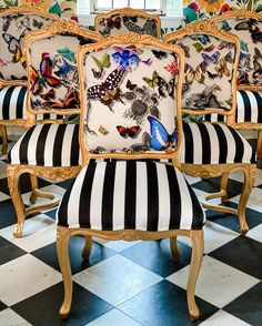 """Wendy Conklin on Instagram: """"The butterflies have landed!  It's Friday, and I'm looking forward to the weekend. I'll work a little bit, but I'll also be in my…"""" Upholstery Courses, Chair Upholstery, Upholstered Furniture, Painted Chairs, Painted Furniture, Diy Furniture, Antique Dining Chairs, French Chairs, Textiles"""