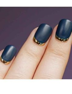 nail art ideas | Tumblr matte black and shiny gold, love it!