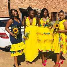 Bride and Her Maids In Tsonga Traditional Wedding Attire African Inspired Fashion, Latest African Fashion Dresses, African Print Dresses, African Dress, Tsonga Traditional Dresses, South African Traditional Dresses, African Wedding Attire, African Attire, Traditional Wedding Attire