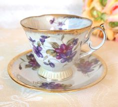 Antique Tea Cup and Saucer Set Floral Lusterware China Teacup w/ Purple Violets and Gold  | Mid Century Japan | Cottage Decor Gift for Her