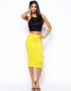 Buy ASOS Midi Pencil Skirt in Jersey at ASOS. Get the latest trends with ASOS now. Asos, Yellow Pencil Skirt, Pencil Skirts, Tube Skirt, Types Of Skirts, Sophisticated Dress, Slouchy Tee, Special Dresses, Popular Dresses