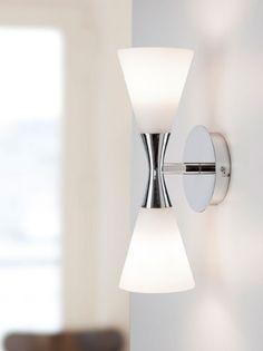 HARLEKIN-DUO wall lamp, mid century design Denmark.  Opal glass with chrome option.  List $95.