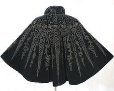 Black velvet cape black velvet embellished with curving soutache and faceted beads. 1890-1900 Victorian. Photo: Vintage Textile.