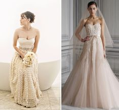 My grandma wore a blush wedding dress and I've always wanted to do the same. The one on the left is gorgeous.
