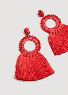 Mango Tassels Pendant Earrings - Red One Size Diy Macrame Earrings, Tassel Earing, Tassel Jewelry, Fabric Jewelry, Beaded Jewelry, Red Earrings, Unique Earrings, Fashion Earrings, Pendant Earrings