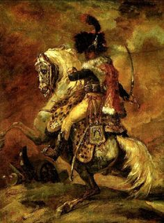 'Officer of the Chasseurs of the Imperial Horse Guards' - Theodore Gericault Victorian Paintings, Military Drawings, Renaissance Era, Rouen, Historical Art, Military Art, Military Uniforms, Military History, Napoleonic Wars