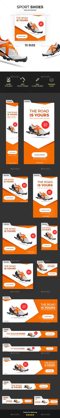 Sports Ads Banners — Photoshop PSD #ads #shoes • Available here → https://graphicriver.net/item/sports-ads-banners/15963053?ref=pxcr