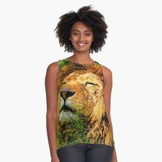 Male Lion, Womens Sleeveless Tops, Tank Man, Chiffon, Mens Tops, Black, Fashion, Silk Fabric, Moda