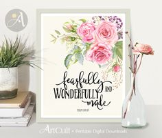 Printable Wall Art digital download Scripture Bible verse nursery inspirational quote, Fearfully and wonderfully made, Psalm 139:14. ArtCult by ArtCult on Etsy