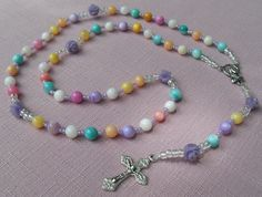 Rosary Pastel Colors Mother of Pearl Beads Lavender by kastex