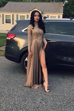 Pin on Bridesmaid Dresses Unique Prom Dresses, 2020 Cheap Long Sleeves A Line Side Slit Brown High Neck Lace Prom Dress, There are long prom gowns and knee-length 2020 prom dresses in this collection that create an elegant and glamorous look Long Ball Dresses, Brown Prom Dresses, Gorgeous Prom Dresses, Prom Dresses Long With Sleeves, Unique Prom Dresses, Long Prom Gowns, A Line Prom Dresses, Elegant Dresses, Formal Dresses