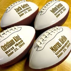 Put a little gridiron in your gifting with a gift that won't fumble. Your man will feel like a Super Bowl MVP when you toss him a personalized football. Best Groomsmen Gifts, Groomsman Gifts, Handmade Groomsmen Gifts, Ring Bearer Gifts, Groomsmen Proposal, Personalized Football, Sports Gifts, Father Of The Bride, The Ordinary