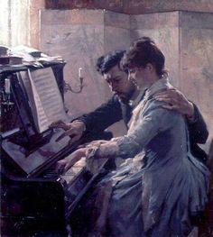 Albert Edelfelt(1854ー1905)「PLAYING THE PIANO」(1884)