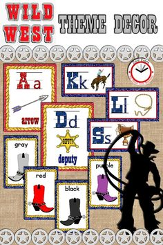 Rootin' Tootin' alphabet posters in 2 sizes + Boot Scootin' color posters. Back To School Activities, School Resources, Teaching Resources, Teaching Ideas, Literacy Activities, School Ideas, The New School, New School Year, Poster Colour