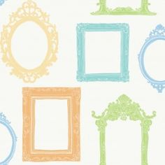 YS9339 Fancy Frames from Peek-a-Boo is a white wallpaper with blue, green, orange and yellow picture frames.