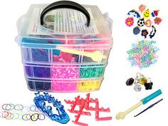 5000 COLOURFUL RAINBOW RUBBER LOOM BANDS BRACELET MAKING KIT SET W S-CLIPS BOX