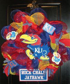 Kansas KU Jayhawk Deco Mesh Wreath. $85.00, via Etsy.