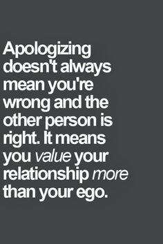 Apologizing won't kill..