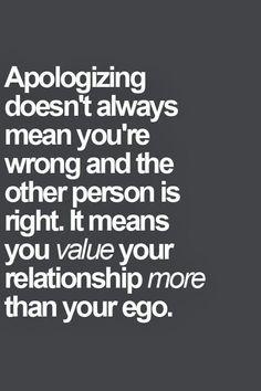 Apologizing won't kill..