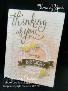 Stampin' Up! Time of Year by Melissa Davies @rubberfunatics #rubberfunatics #stampinup