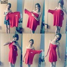 Как из растянутой футболки сделать платье за 2 минуты