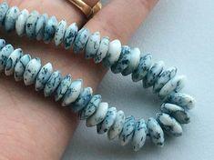 Dendrite Opal Dendrite German Cut Beads White & by gemsforjewels