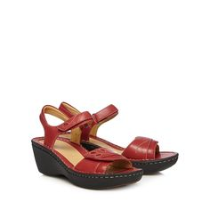 Clarks Red 'Un Dory' leather mid sandals- at Debenhams.ie