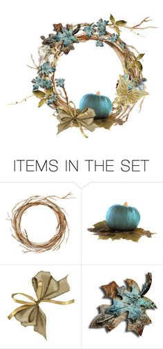 """""""♥ Autumn Wreaths in Non-Traditional Colors CHALLENGE ♥"""" by kari-c ❤ liked on Polyvore featuring art"""