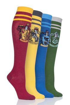 Harry Potter House Badges Cotton Knee High Socks Harry Potter Design, Harry Potter House Colors, Harry Potter Socks, Harry Potter Houses, Thigh High Socks, Knee Socks, Thigh Highs, Potters House, Punk Fashion