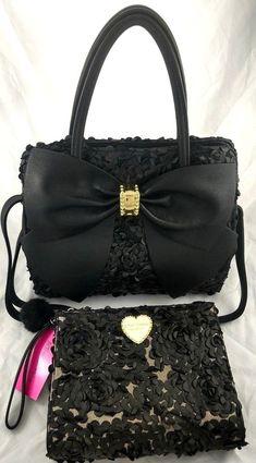 Betsey Johnson 2pc Set Black Bow Satchel Floral Shoulder Bag Crossbody & Clutch #BetseyJohnson #ClutchCrossbodySatchelWristlet