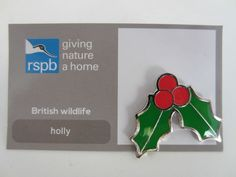 Charity Pin Badge RSPB Giving Nature A Home Holly Enamel British Wildlife