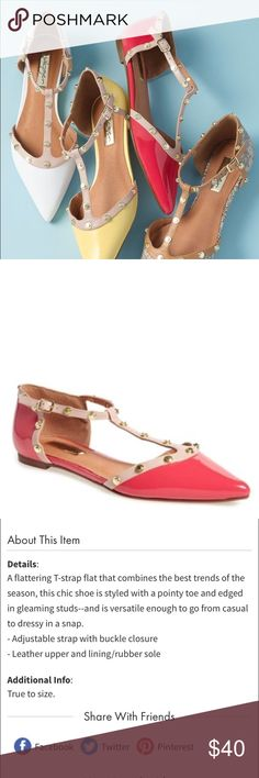 SIZE 4 Halogen pointed t-strap flat (bcah) Halogen pointed t-strap flat.  Size 4.  Color is pink/coral.  Brand new never worn.  No trade.  I have other color in my closet. Halogen Shoes Flats & Loafers