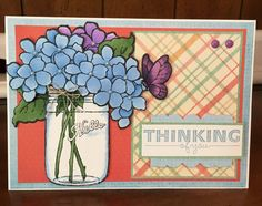 Thinking of You Card  Blank Inside  Hand Colored by WNCarolinaGirl