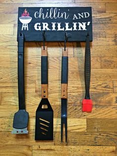 Chillin' And Grillin' Wood Sign - BBQ Utensil Holder - Gift for Him - Sign for…