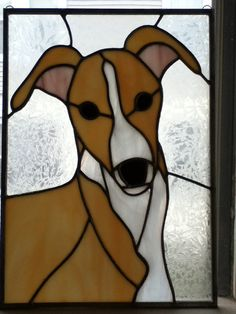 Stained Glass Tan Greyhound Dog Portrait by MicahsGlass on Etsy, $150.00