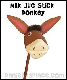 **meg- look for activity sheet above the donkey**  milk jug donkey craft www.daniellesplace.com