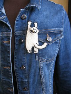 #handembroidered, VO!, Samons cat, patched-up denim, PINS, denim