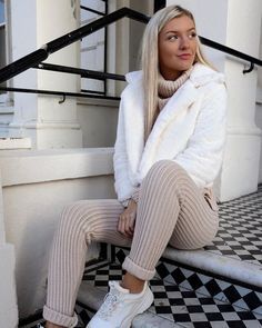 Knit Roll Neck Loungewear Co ord Set Beige Cute Lounge Outfits, Casual Chic Outfits, Lazy Day Outfits, Chill Outfits, Sporty Outfits, Girls Fashion Clothes, Winter Fashion Outfits, Fall Winter Outfits, Co Ords Outfits
