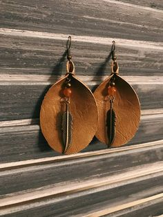 Brown Leather Earrings with Feather Pendants