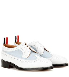 THOM BROWNE Leather And Canvas Brogues. #thombrowne #shoes #flats