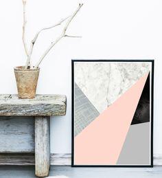 GroBartig Geometric Art, Black And White, Minimalist Art, Geometric Print Art,  Origami Art