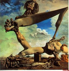 "'Soft Construction with Boiled Beans' (Premonition of Civil War) (1936) by Dalí. Dali made this to represent the horrors of the Spanish Civil War. He painted this work six months before the war had even begun and then claimed that he had known the war was going to happen in order to appear to have prophet-like abilities due to ""the prophetic power of his subconscious mind."" Dali may have changed the paintings name after the war to ""prove"" this prophetic quality, t's not known for certain."