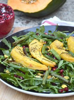 Rosemary Roasted Acorn Squash Salad with Pomegranate and Pistachios