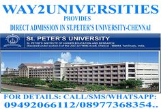 Direct Admissions Into St Peter's University-2015