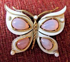 Vintage Crown TRIFARI White Enamel & Large PINK Cabochon Butterfly Brooch / pin | Jewelry & Watches, Vintage & Antique Jewelry, Costume | eBay!