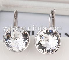 Exquisite Mens Platinum Plated Shiny Cubic Zirconia Lever Back Drop Earrings