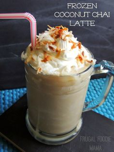 Frozen Coconut Chai Latte via thefrugalfoodiemama.com - this dairy free frozen treats combines sweet coconut with spicy chai